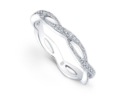 14K White Gold and Baguette Diamond Wedding Band