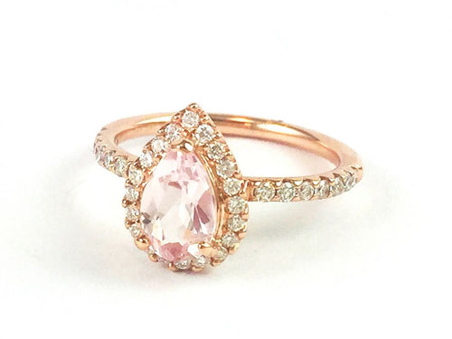 14K Rose Gold, Morganite and Diamond Ring