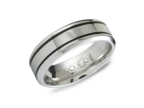 White and Black Cobalt Men's Wedding Band