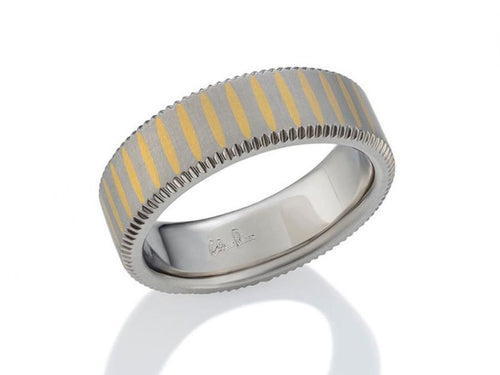 Palladium and 24K Yellow Gold Men's Wedding Ring