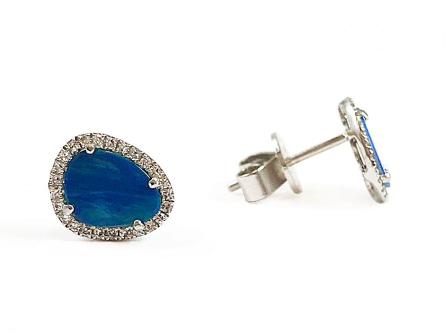 14K White Gold, Opal Doublet and Diamond Stud Earrings
