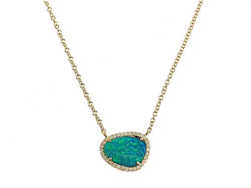 14K Yellow Gold, Opal Doublet And Diamond Necklace