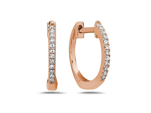 14K Rose Gold and Diamond Huggie Earrings in Washington DC