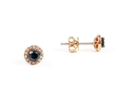 14K Rose Gold and Black Diamond Stud Earrings