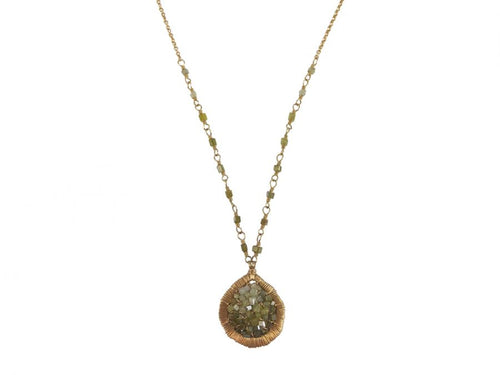 14K Yellow Gold & Olive Diamond Bead Pendant Necklace