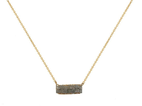 14K Yellow Gold And Diamond Cube Necklace