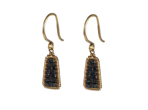 14K Yellow Gold and Black Diamond Cube Earrings