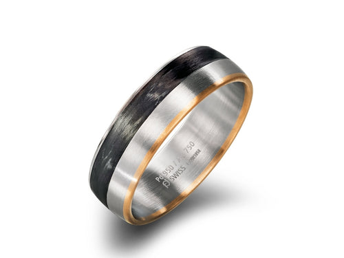 Palladium, 18K Red Gold and Carbon Fiber Men's Wedding Ring
