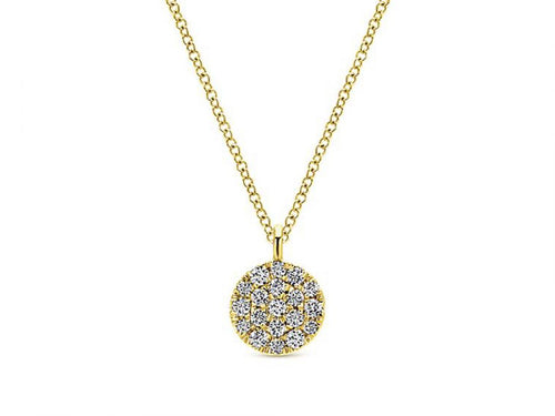 Yellow Gold Pavé Diamond Pendant Necklace