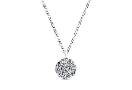 14K White Gold and Pavé Diamond Pendant Necklace