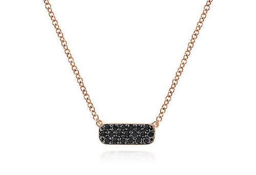 14K Rose Gold And Black Diamond Necklace