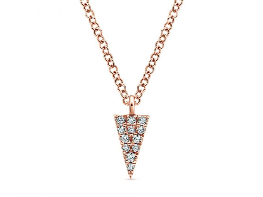 14K Rose Gold and Diamond Pendant Necklace