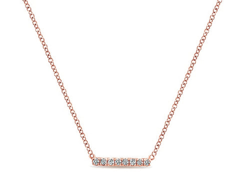 Simple Rose Gold and Diamond Bar Necklace at the Best Jewelry Store in Washington DC