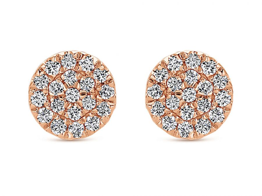Pavé Diamond Stud Earrings in Rose Gold