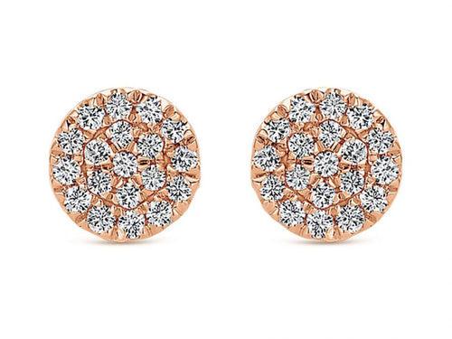 14K Rose Gold and Diamond Stud Earrings