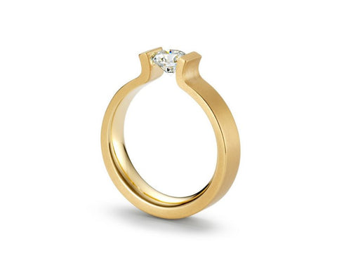 18K Yellow Gold and Tension-Set Diamond Engagement Ring