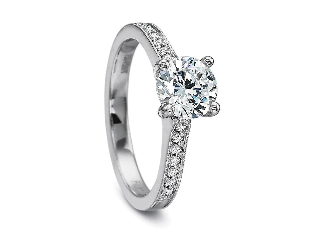 18K White Gold and Diamond Solitaire Engagement Ring