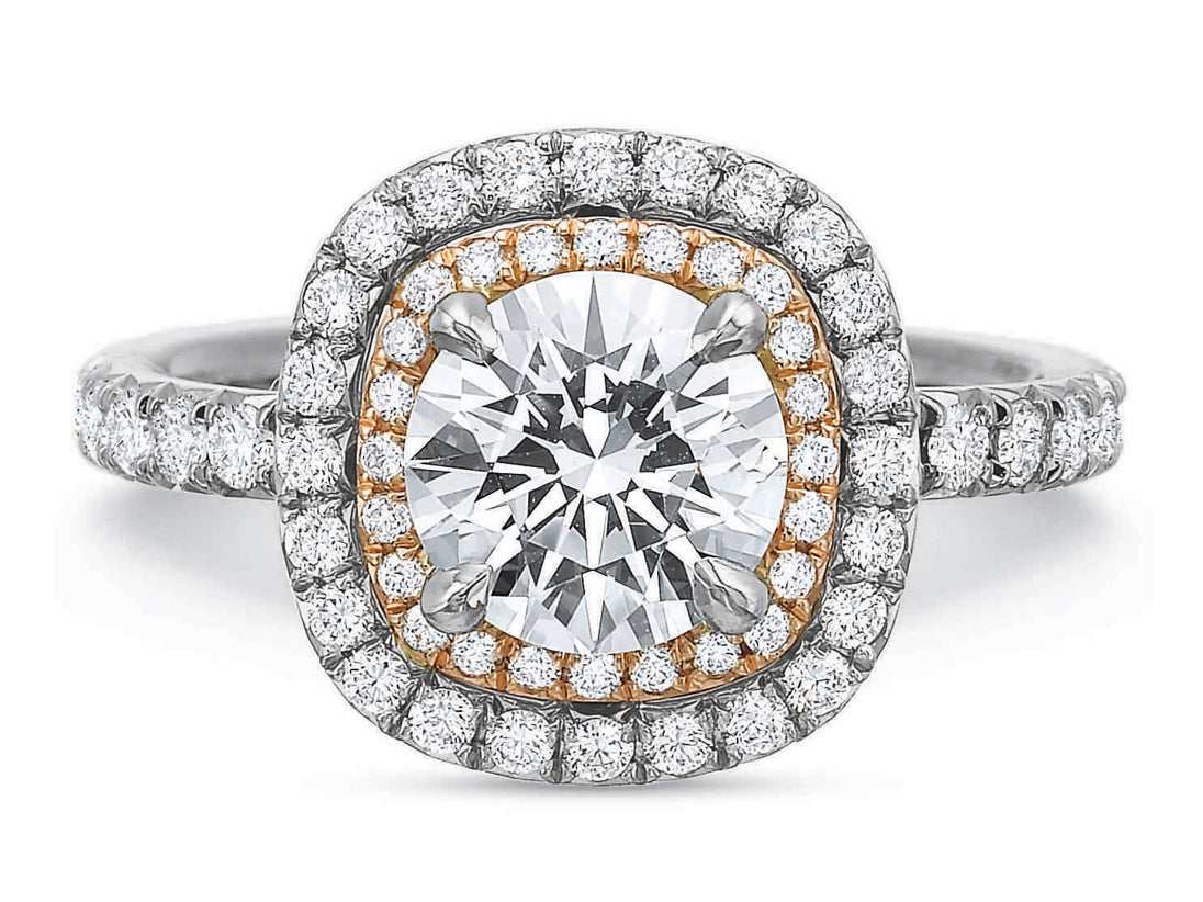 18K White Gold, 18K Rose Gold and Diamond Halo Engagement Ring