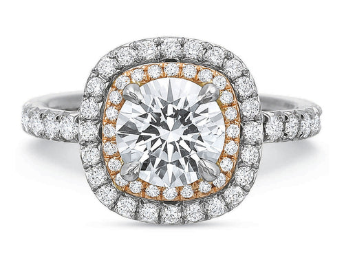 White Gold, 18K Rose Gold and Diamond Halo Engagement Ring in Washington DC