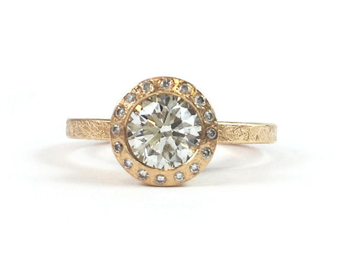18K Rose Gold and Diamond Engagement Ring