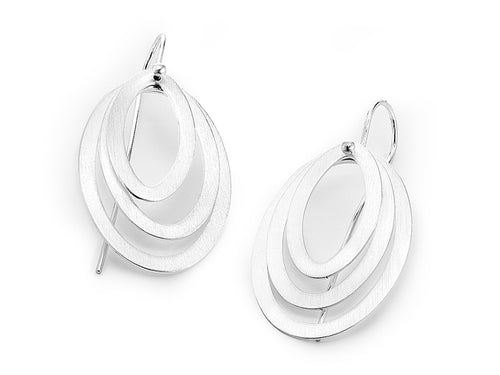 "Sterling Silver ""Layered Oval"" Earrings"