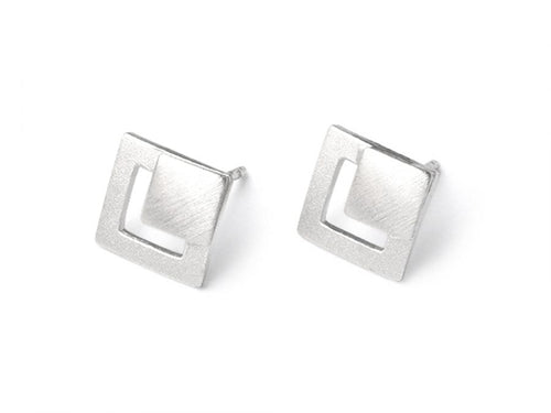 "Sterling Silver ""Diamond"" Earrings"