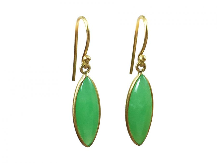 "Chrysoprase ""Marquise"" Earrings"