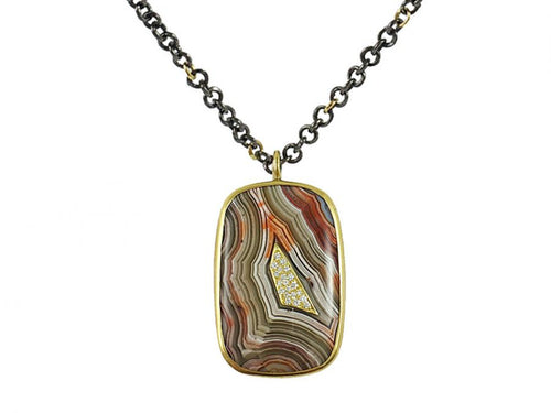 Crazy Lace Agate and Diamond Pendant Necklace