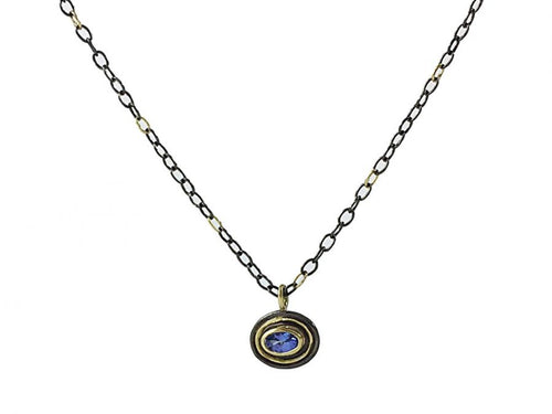 "Oxidized Sterling Silver, 18K Yellow Gold and Tanzanite ""Stir"" Pendant Necklace"