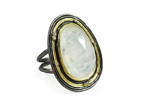 Oxidized Sterling Silver, 18K Yellow Gold, Rainbow Moonstone and Diamond Ring