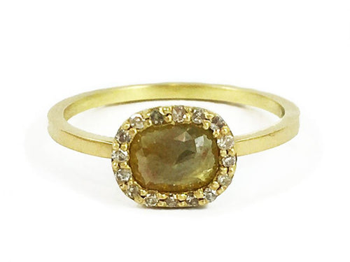 18K Yellow Gold and Rustic Diamond Halo Ring