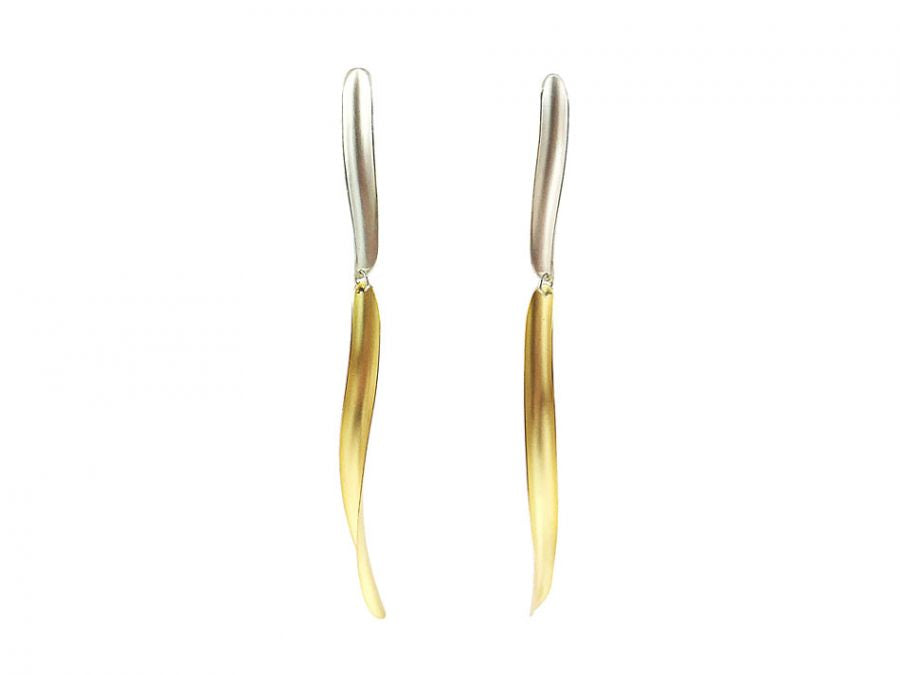 "18K Yellow Gold and Sterling Silver ""Volta"" Earrings"