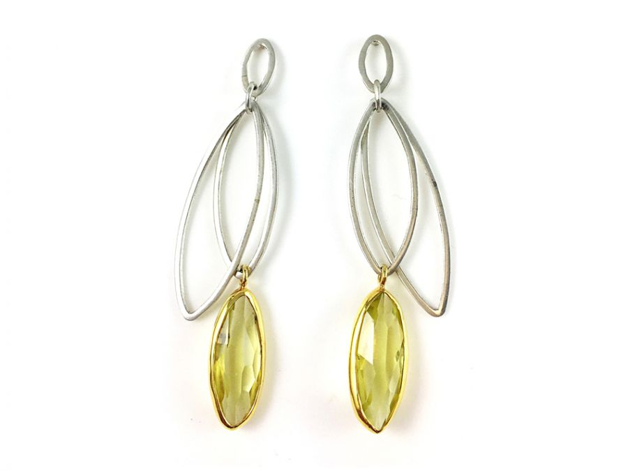 Sterling Silver, 18K Yellow Gold and Lemon Quartz Earrings