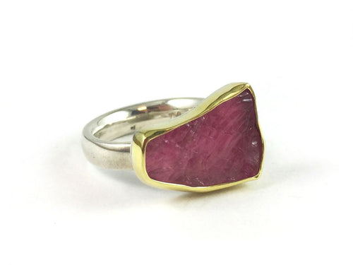 18K Yellow Gold, Sterling Silver and Pink Tourmaline Ring