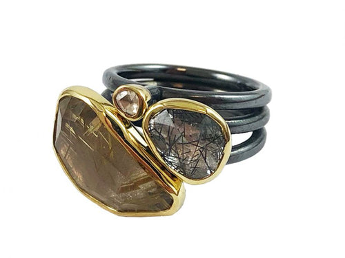 Oxidized Sterling Silver, 18K Yellow Gold, Rutilated Quartz and Diamond Ring
