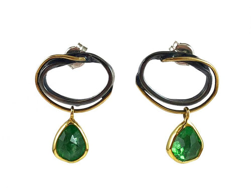 18K Yellow Gold, Oxidized Sterling Silver and Green Tourmaline Earrings