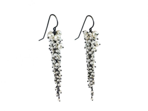 Oxidized Sterling Silver And Pearl Earrings