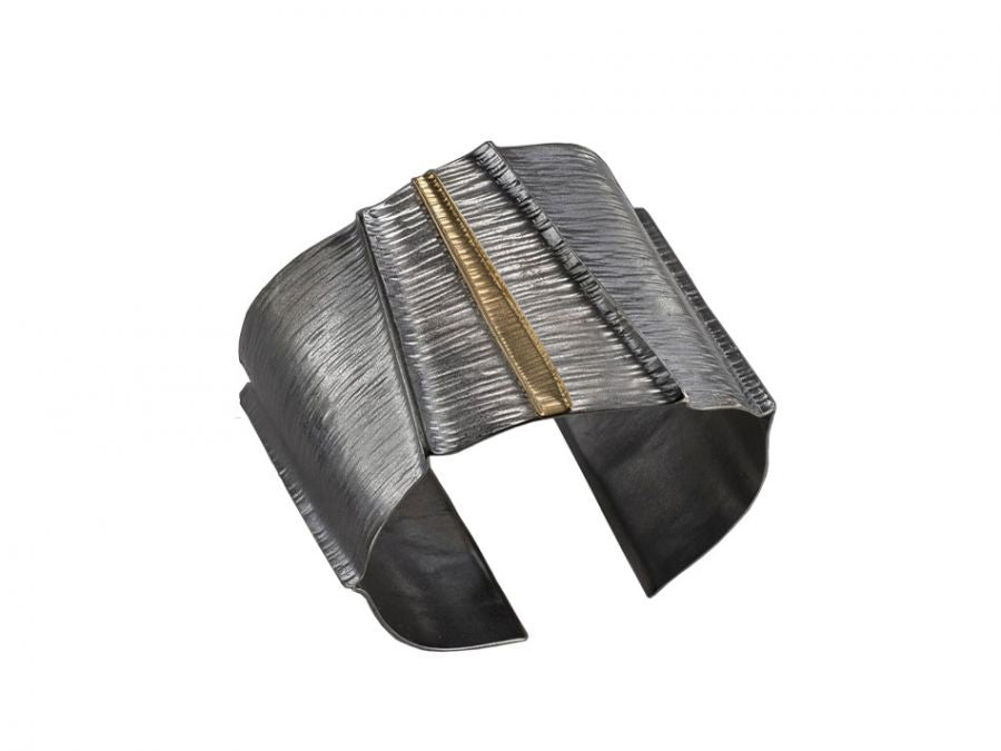 Oxidized Sterling Silver and 18K Yellow Gold Cuff Bracelet