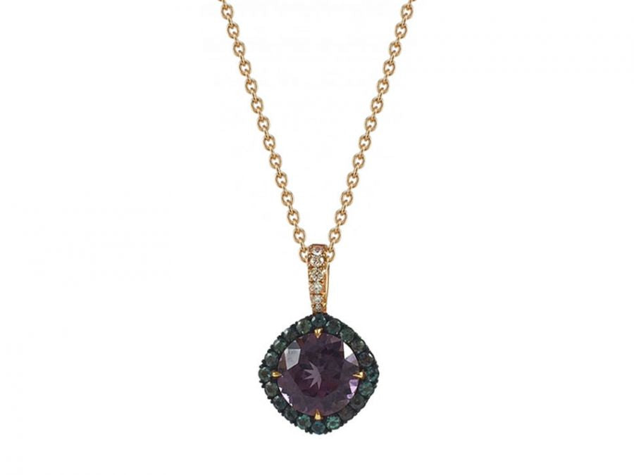 Purple Spinel, Natural Alexandrite And Diamond Necklace