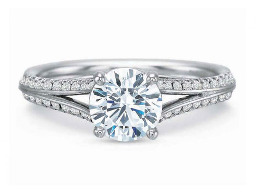 14K White Gold and Diamond Solitaire Engagement Ring Mounting