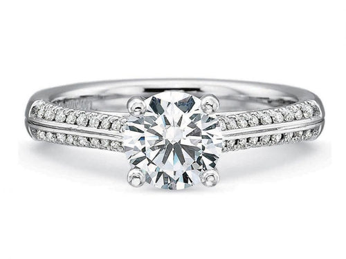 18K White Gold, Platinum and Diamond Engagement Ring Mounting