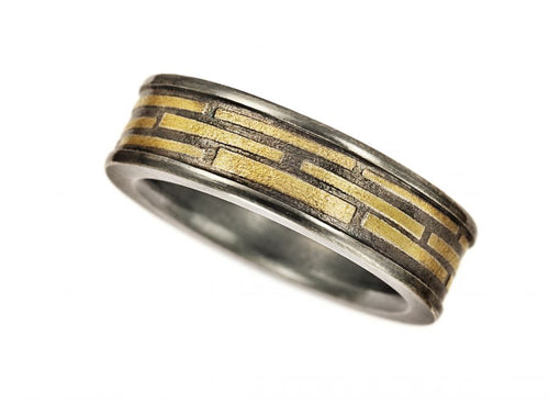 Oxidized Silver and Yellow Gold Men's Band