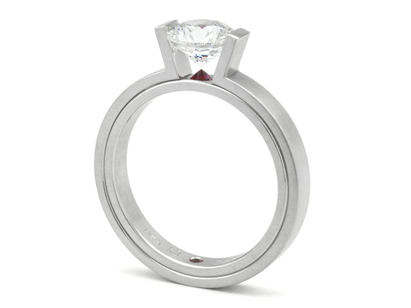 Platinum, Diamond and Ruby Engagement Ring Mounting