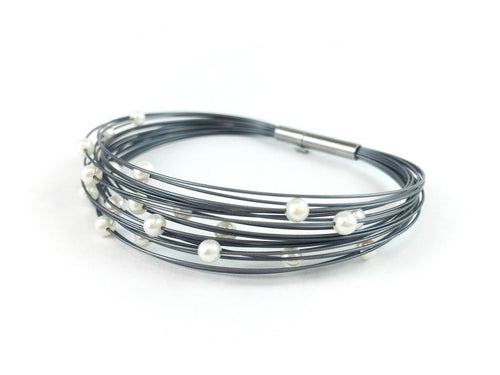 Greyed Stainless Steel and Freshwater Pearl Bracelet