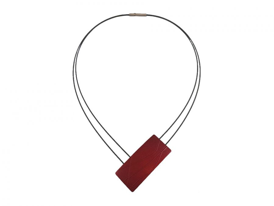 Blackened Stainless Steel Necklace with Red Aluminum Pendant