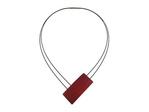 Blackened Stainless Steel and Red Aluminum Pendant Necklace