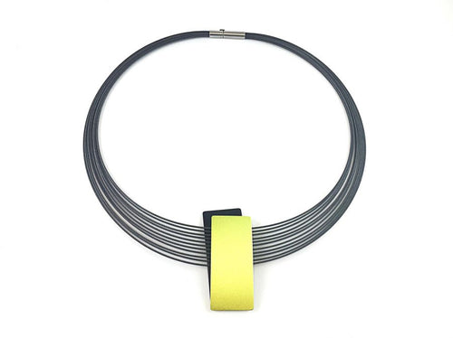 Stainless Steel Necklace with Black and Lemon-Colored Aluminum Pendant