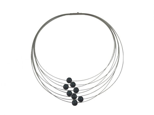 Multi-Strand Stainless Steel Coil Necklace With Black Aluminum Beads