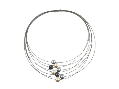 Multi-Strand Stainless Steel Coil Necklace with Aluminum Beads
