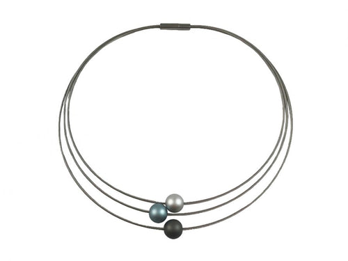 Triple-Strand Stainless Steel Coil and Aluminum Bead Necklace